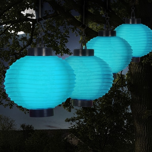 Shop Pure Garden Blue Outdoor Solar Led Chinese Lanterns – On Sale In Blue Outdoor Lanterns (View 6 of 15)