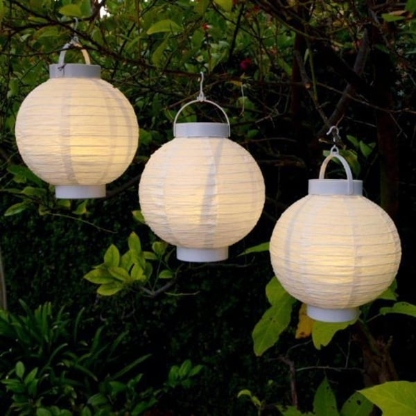 Shop Set Of 3 Battery Operated Led Lighted White Fabric Outdoor With Regard To Set Of 3 Outdoor Lanterns (View 14 of 15)