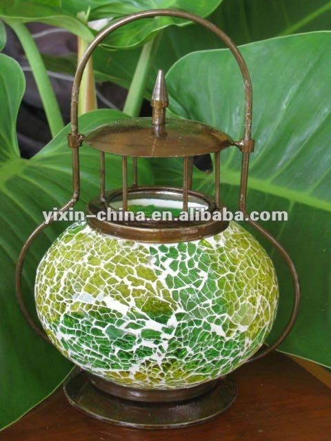 Slivery Glass Mosaic Lantern/outdoor Hurricane Candle Lamp – Buy Pertaining To Outdoor Mosaic Lanterns (#11 of 15)