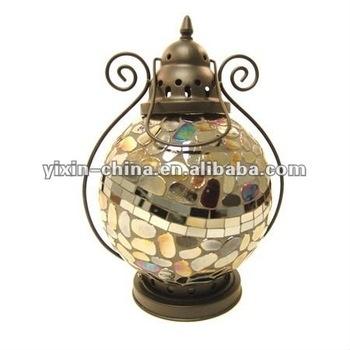 Slivery Glass Mosaic Lantern/outdoor Hurricane Candle Lantern – Buy With Outdoor Mosaic Lanterns (#12 of 15)