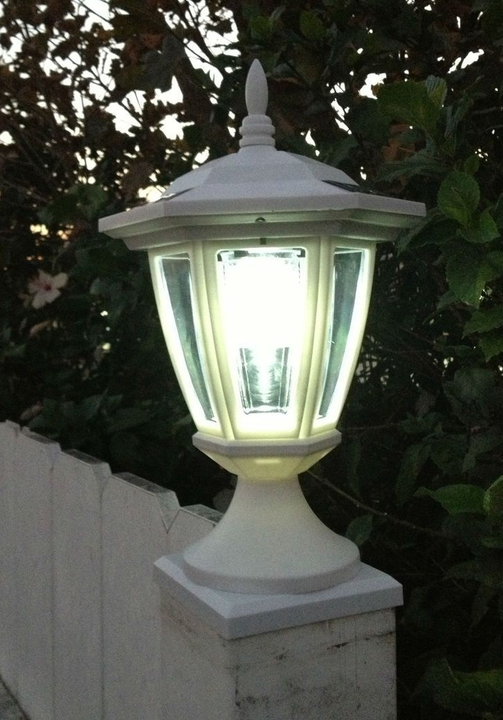 Solar Deck Post Cap Lights With Carriage Lanterns, Wood & Vinyl Within Outdoor Vinyl Lanterns (View 8 of 15)