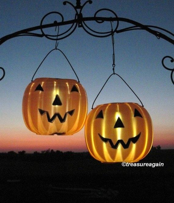 Solar Jack O Lanterns 2 Pumpkin Solar Lights Outdoor Halloween | Etsy Intended For Outdoor Pumpkin Lanterns (View 6 of 15)