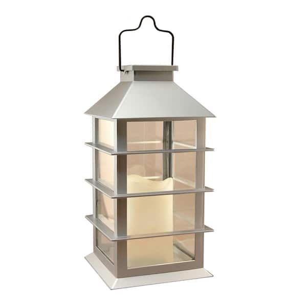 Solar Powered Silver Plastic Lantern With Led Candle | Overstock With Regard To Outdoor Plastic Lanterns (View 13 of 15)