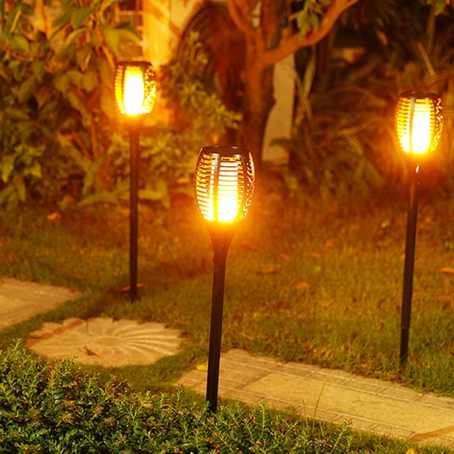 Solar Tiki Torch Lights Led Garden Waterproof Outdoor Courtyard Lamp Intended For Outdoor Tiki Lanterns (View 6 of 15)