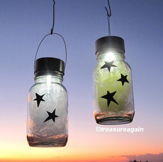 Star Light Jars Outdoor Home Decor Holiday Mason Jar Solar | Etsy With Regard To Etsy Outdoor Lanterns (View 6 of 15)