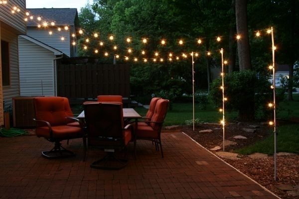 Support Poles For Patio Lights Made From Rebar And Electrical With For Outdoor Patio Electric Lanterns (#15 of 15)