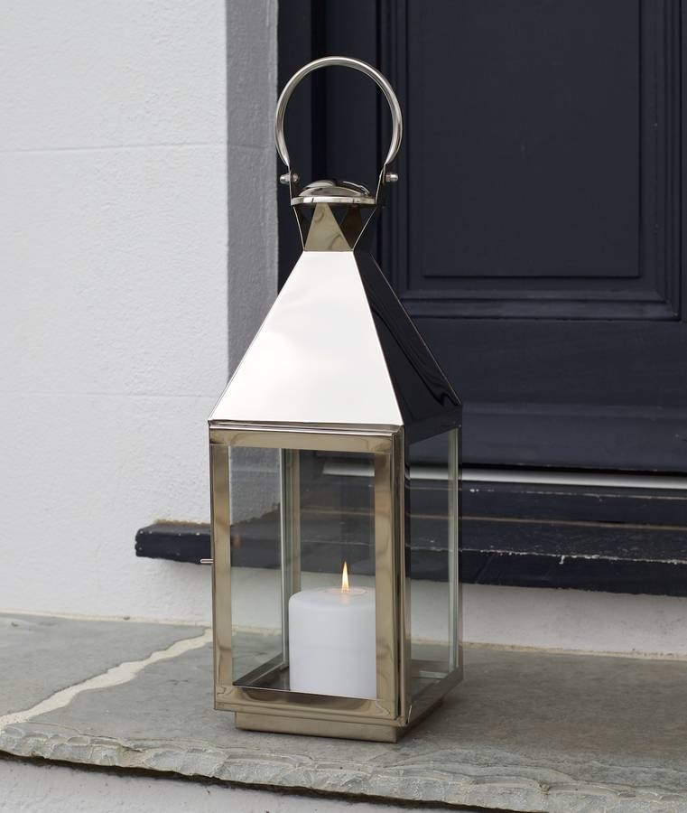Inspiration about Tall Stainless Steel Garden Candle Lanternza Za Homes In Silver Outdoor Lanterns (#5 of 15)
