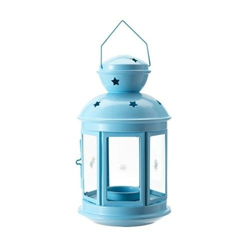 Tealight Lantern Blue Powder Coated Steal Indoor / Outdoo Inside Blue Outdoor Lanterns (View 9 of 15)