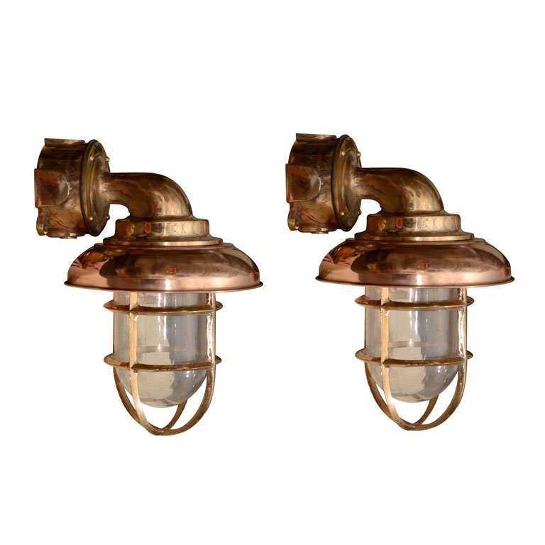 This Set Of Eight Copper And Brass Nautical Sconces ($800, | Best Inside Outdoor Nautical Lanterns (View 3 of 15)