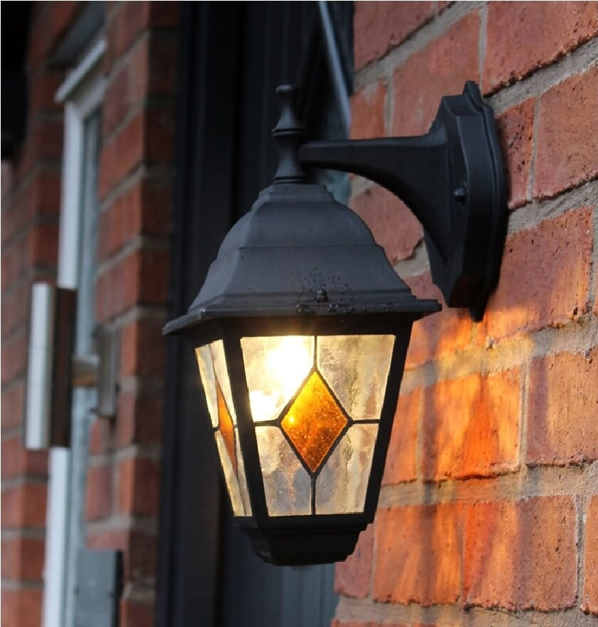 Inspiration about Victorian Style Outdoor Wall Lantern With Stained Glass | Light Inside Outdoor Mains Lanterns (#13 of 15)