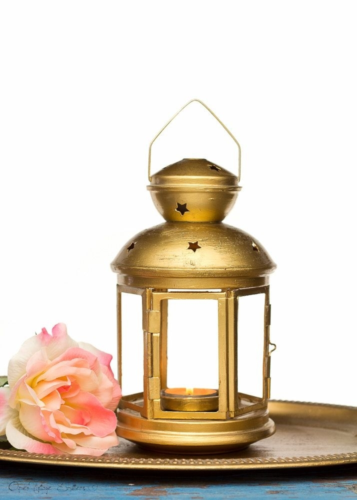 Inspiration about Vintage Gold Style Wedding Lantern – Shabby Chic – Customized Throughout Gold Outdoor Lanterns (#13 of 15)