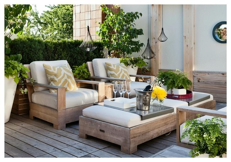Weathered Teak Deck Chairs With Weathered Teak Ottoman As Coffee With Regard To Outdoor Teak Lanterns (View 6 of 15)