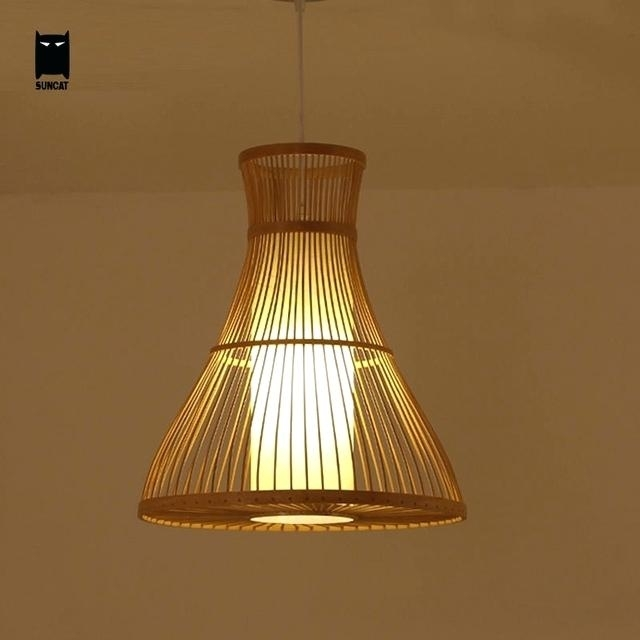 Wicker Hanging Light Bamboo Wicker Rattan Pendant Light Fixture Regarding Outdoor Bamboo Lanterns (View 9 of 15)