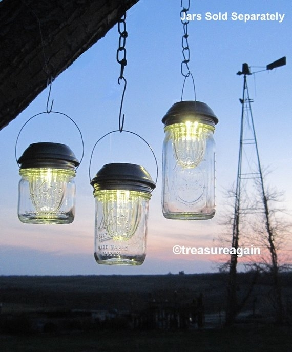 Inspiration about Wide Mason Jar Solar Lids Garden Lanterns 4X Brighter Hanging | Etsy With Etsy Outdoor Lanterns (#4 of 15)