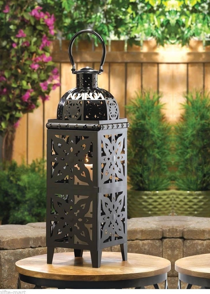Xl Black 25Quot Tall Moroccan Candle Holder Outdoor Terrace Light Pertaining To Xl Outdoor Lanterns (#15 of 15)