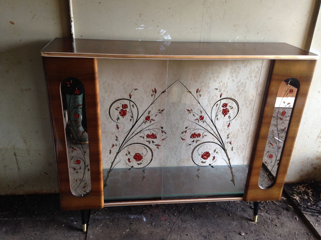 Inspiration about 1950S Atomic Vintage Glass & Formica Cocktail Cabinet, Bar Or With Regard To Most Popular Vintage 8 Glass Sideboards (#9 of 20)