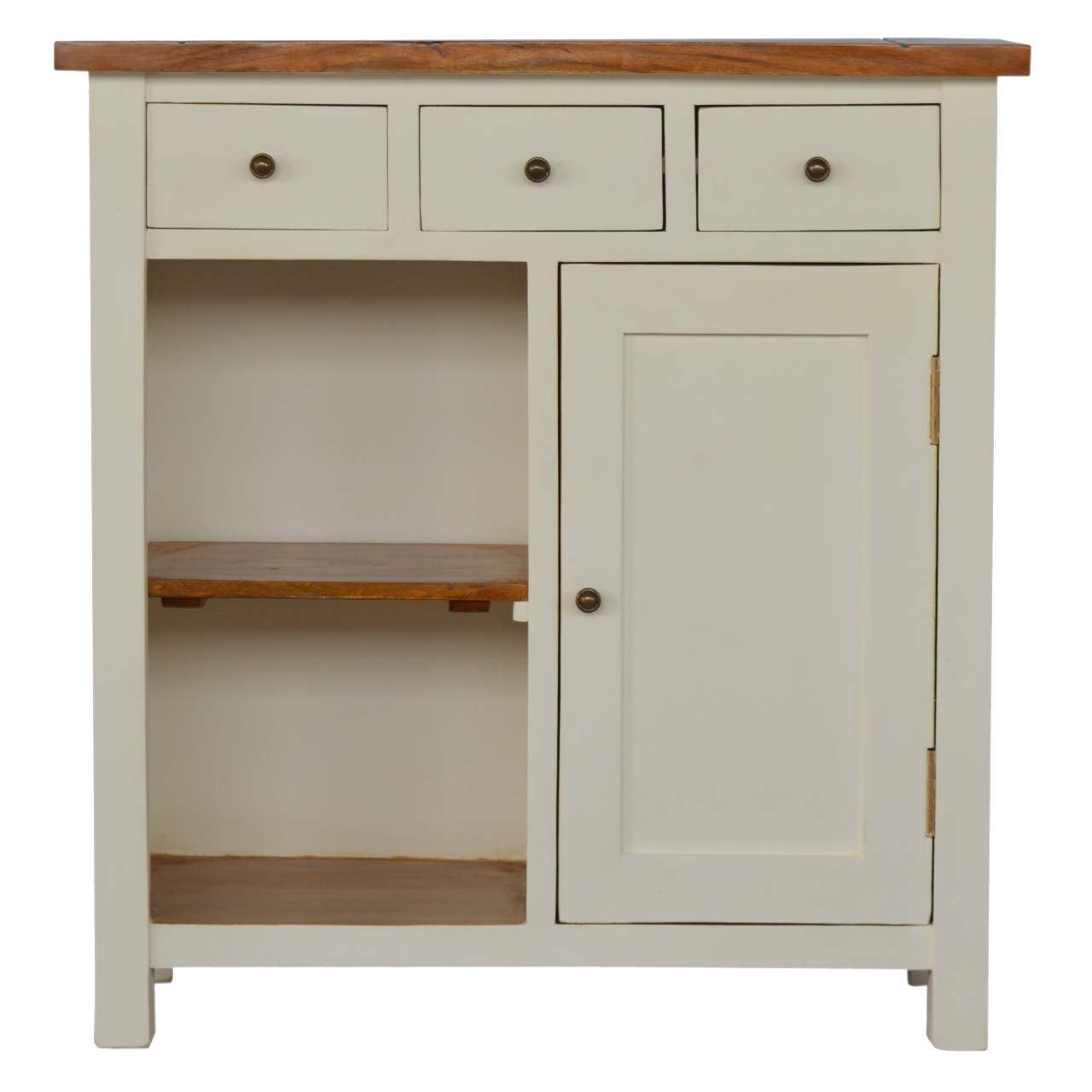 Inspiration about 2 Toned Kitchen Unit With 3 Drawers & 2 Open Shelves – Casanad With Regard To Most Recent Open Shelf Brass 4 Drawer Sideboards (#11 of 20)