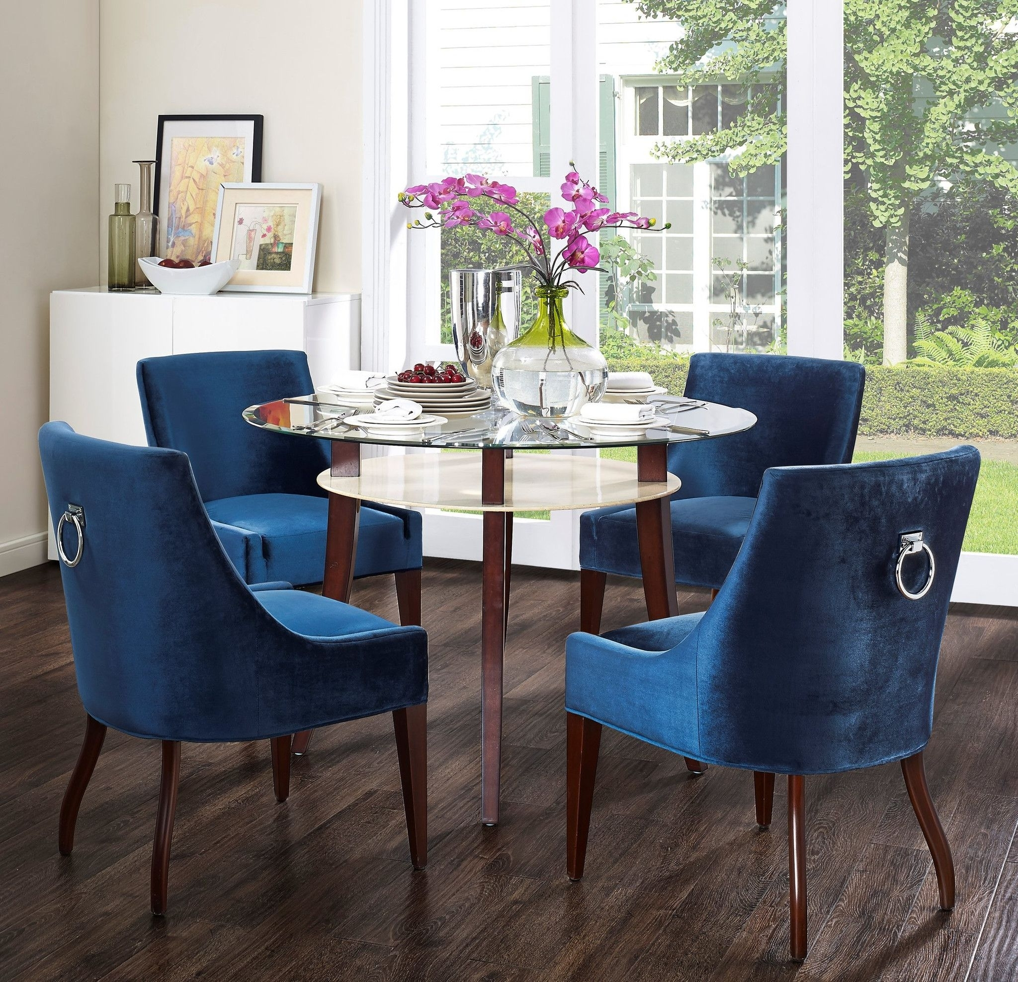 2018 Dining Chairs With Blue Loose Seat With Tov Furniture Modern Dover Blue Velvet Dining Chair Tov D35 In  (View 1 of 20)