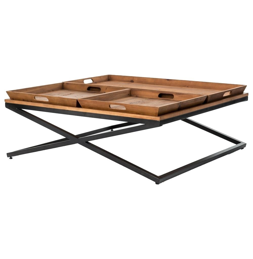 Inspiration about 2018 Jaxon Trio Tray Top Wood Iron Industrial Square Coffee Table Pertaining To Jaxon Wood Side Chairs (#19 of 20)