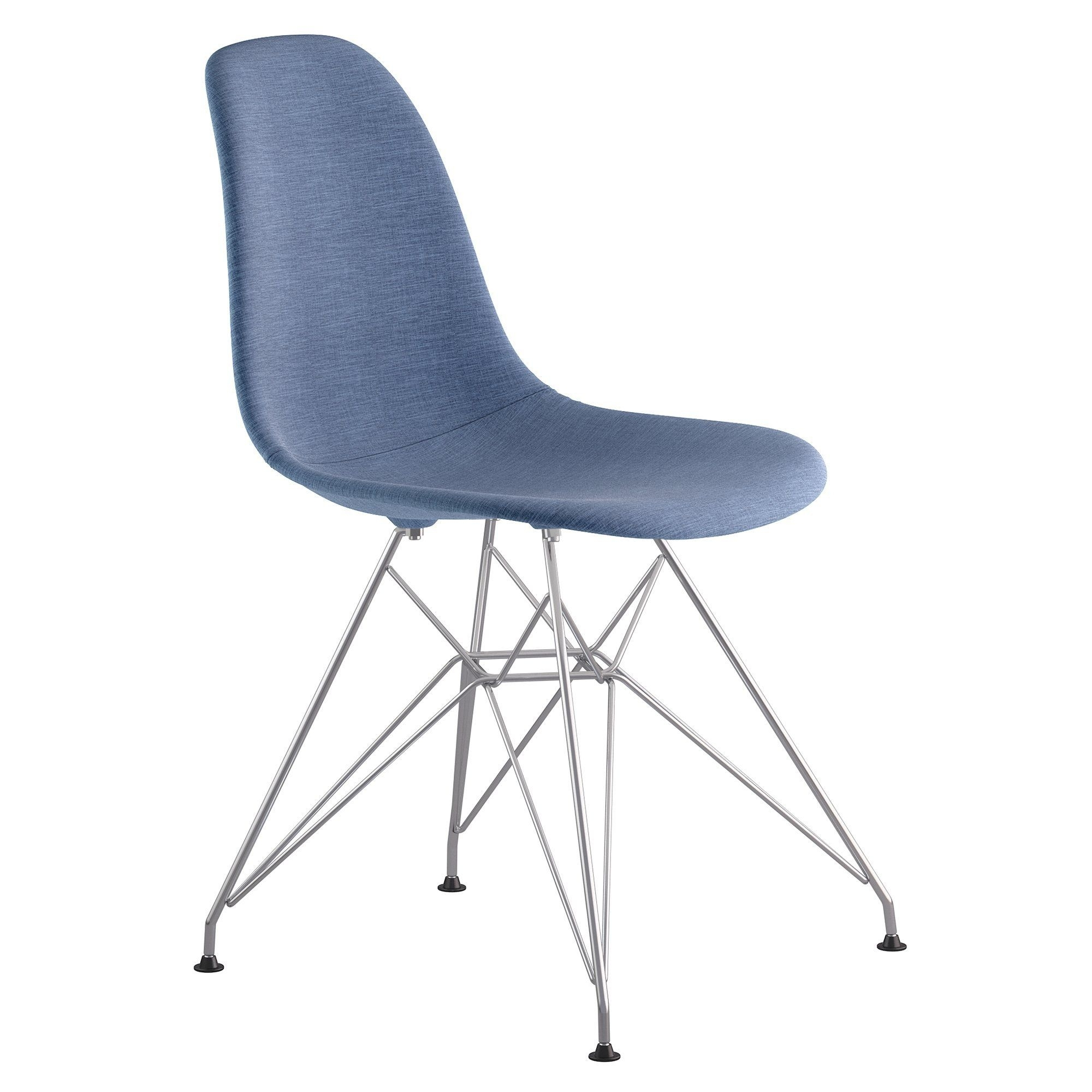Inspiration about 2018 Mid Century Eiffel Side Chair In Dodger Blue Fabric With Brushed Regarding Dodger Side Chairs (#3 of 20)