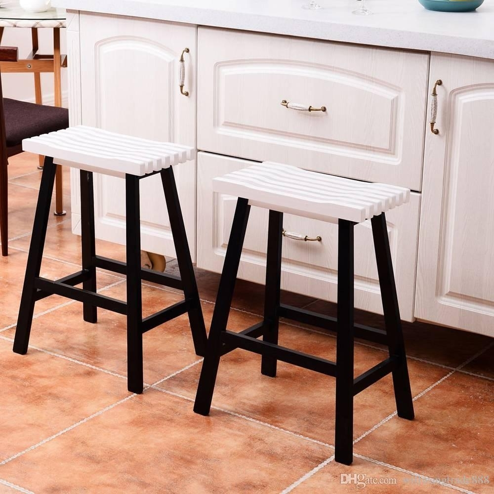 2018 Pine Wood White Dining Chairs For 2018 Pine Wood Saddle Seat Bar Stool Dining Chair Black White From (#1 of 20)