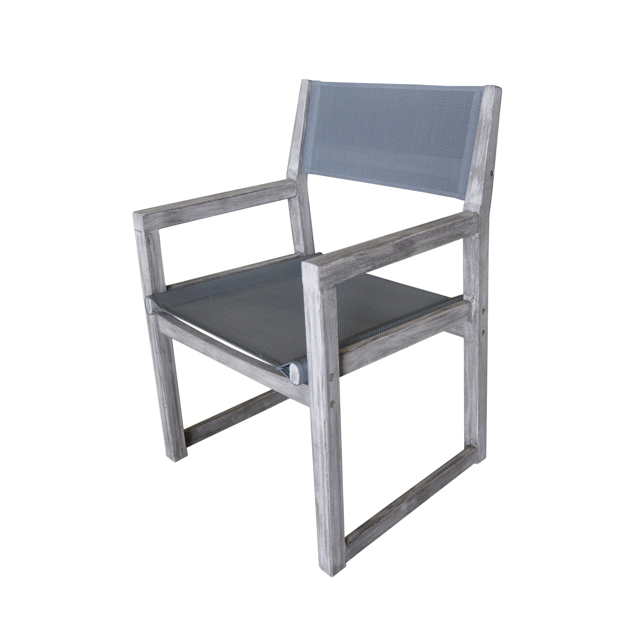 2018 Shop Courtyard Casual Gray Teak Bay Side Outdoor Sling Dining Chair Intended For Delfina Side Chairs (#2 of 20)
