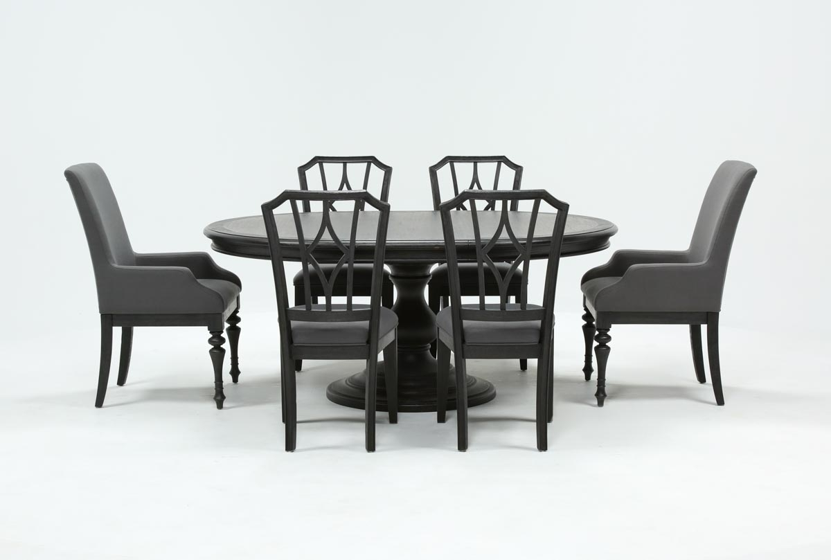 2019 Caira Black 7 Piece Dining Set W/arm Chairs & Diamond Back Chairs With Regard To Caira Black Upholstered Arm Chairs (#1 of 20)