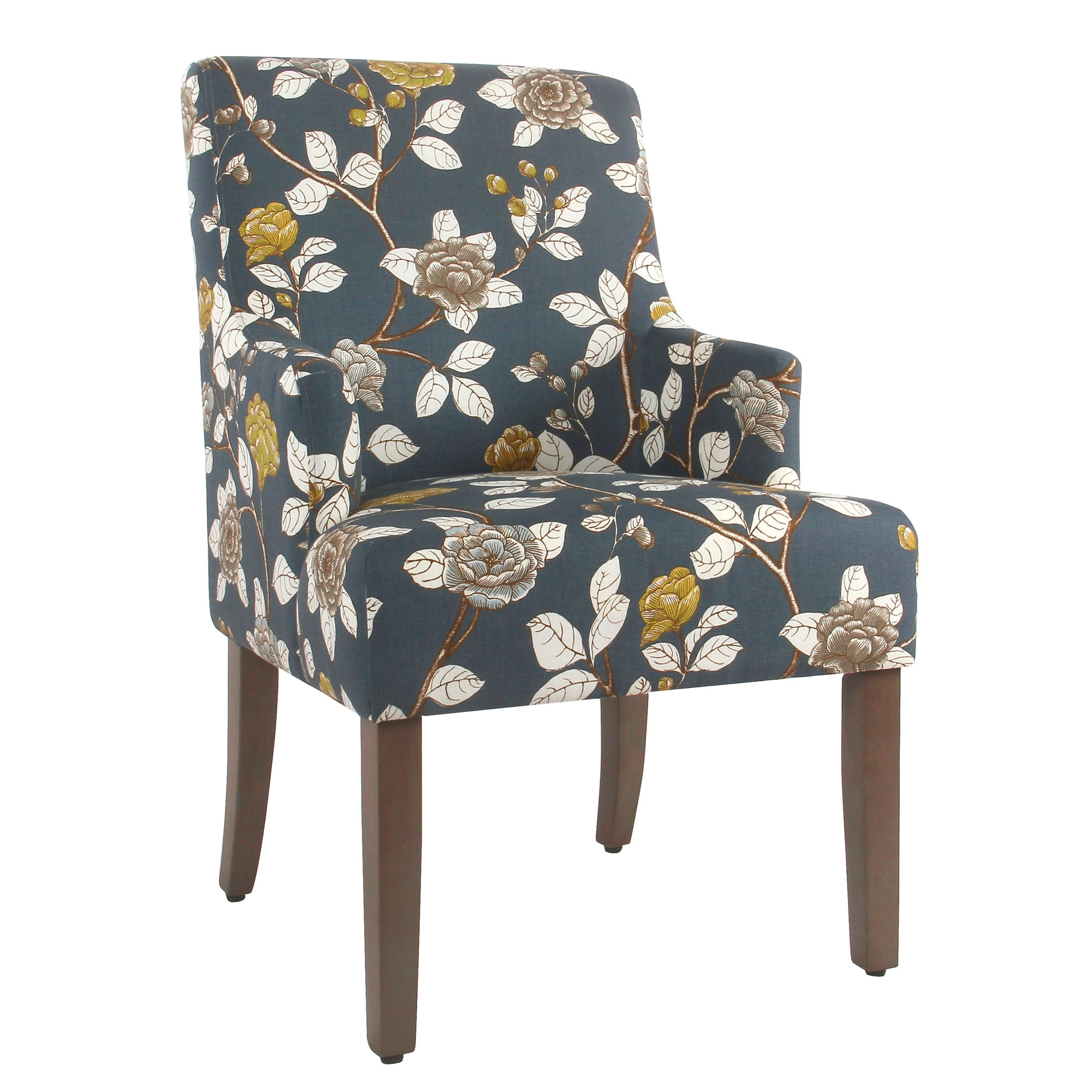 2019 Macie Side Chairs Throughout Homepop Meredith Dining Chair Navy Floral Front Right Swoop Arm (#2 of 20)