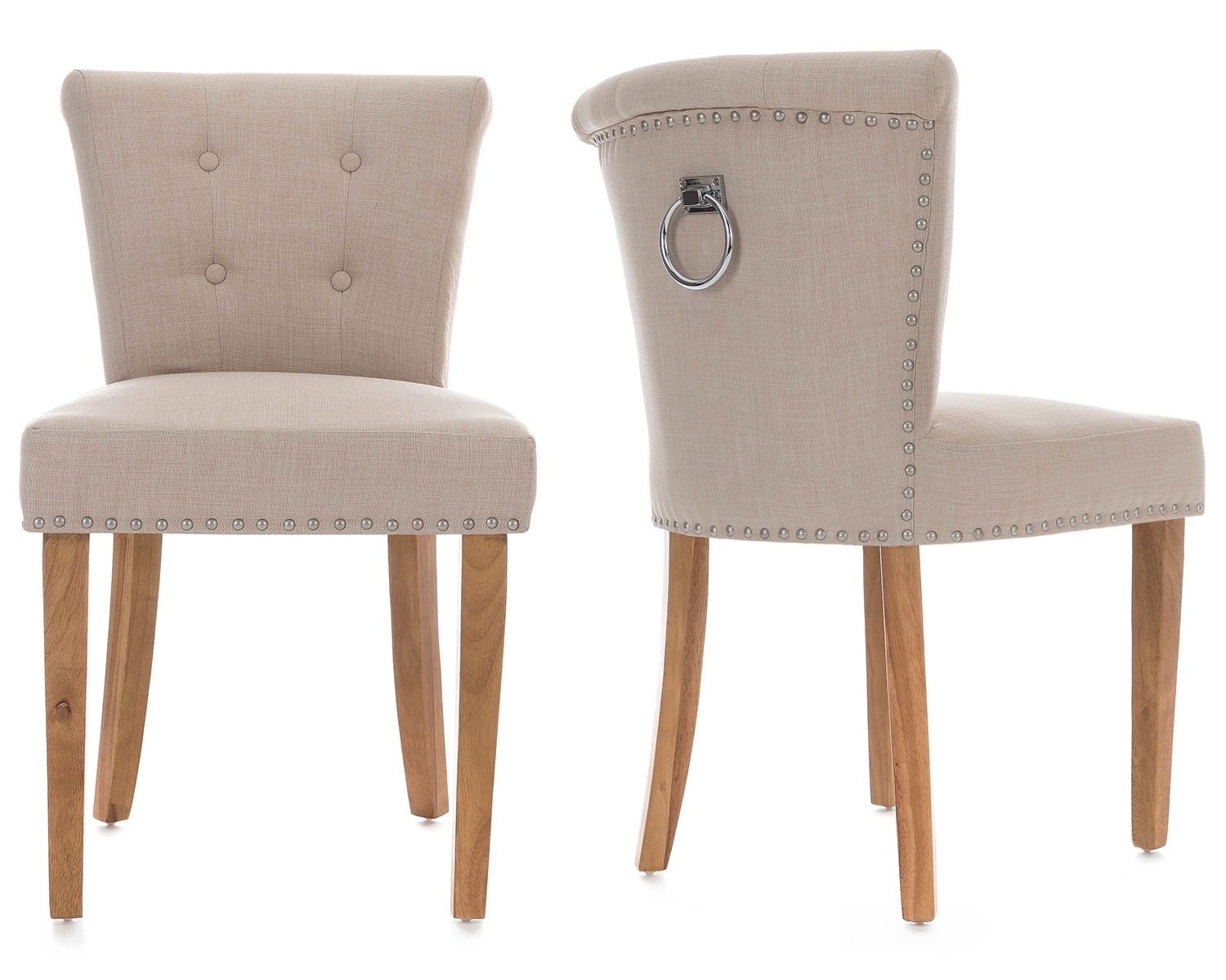 2019 Pair Of Camden Dining Chairs In Cream Linen With Chrome Knocker And Regarding Camden Dining Chairs (#3 of 20)