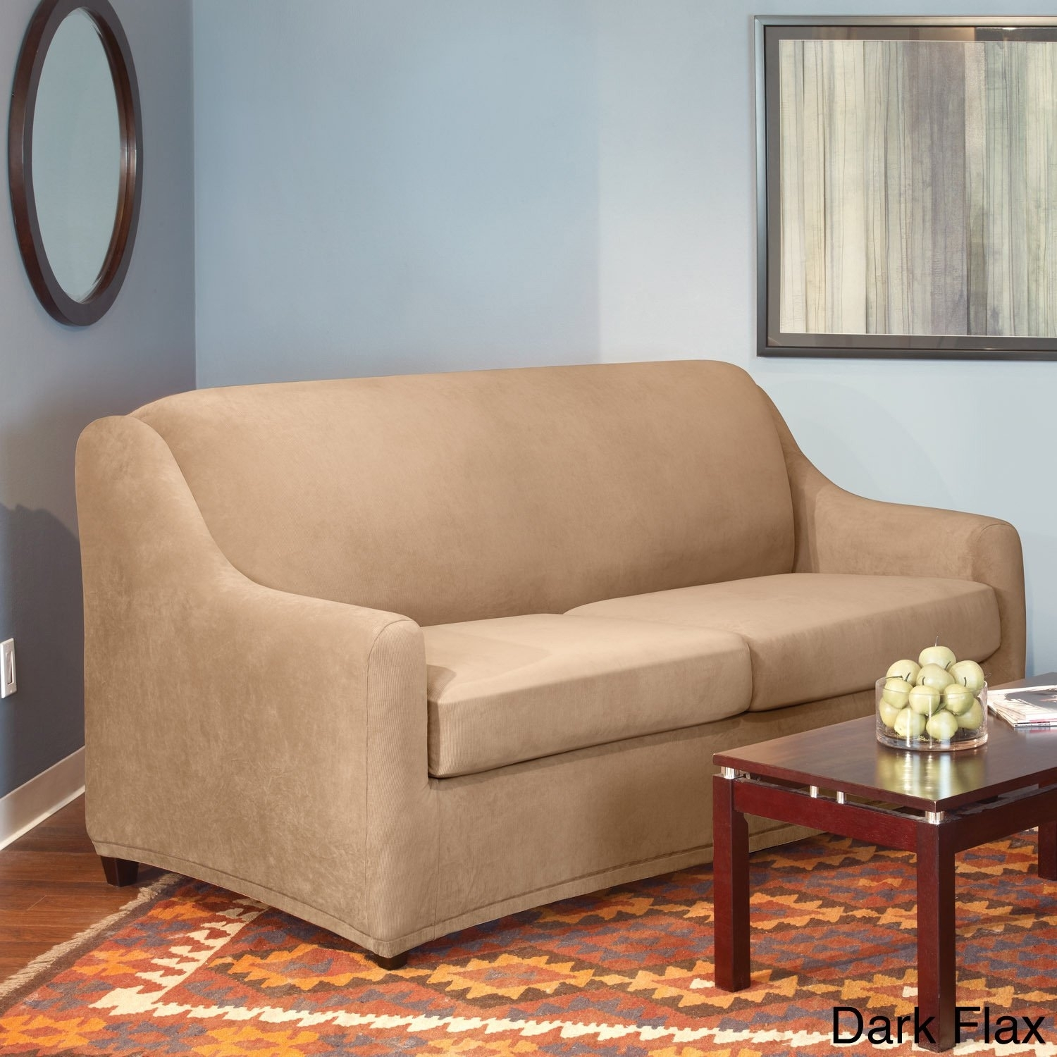 2019 Shop Sure Fit Stretch Pearson Full 3 Piece Sleeper Sofa Slipcover Intended For Pearson White Slipcovered Side Chairs (#3 of 20)