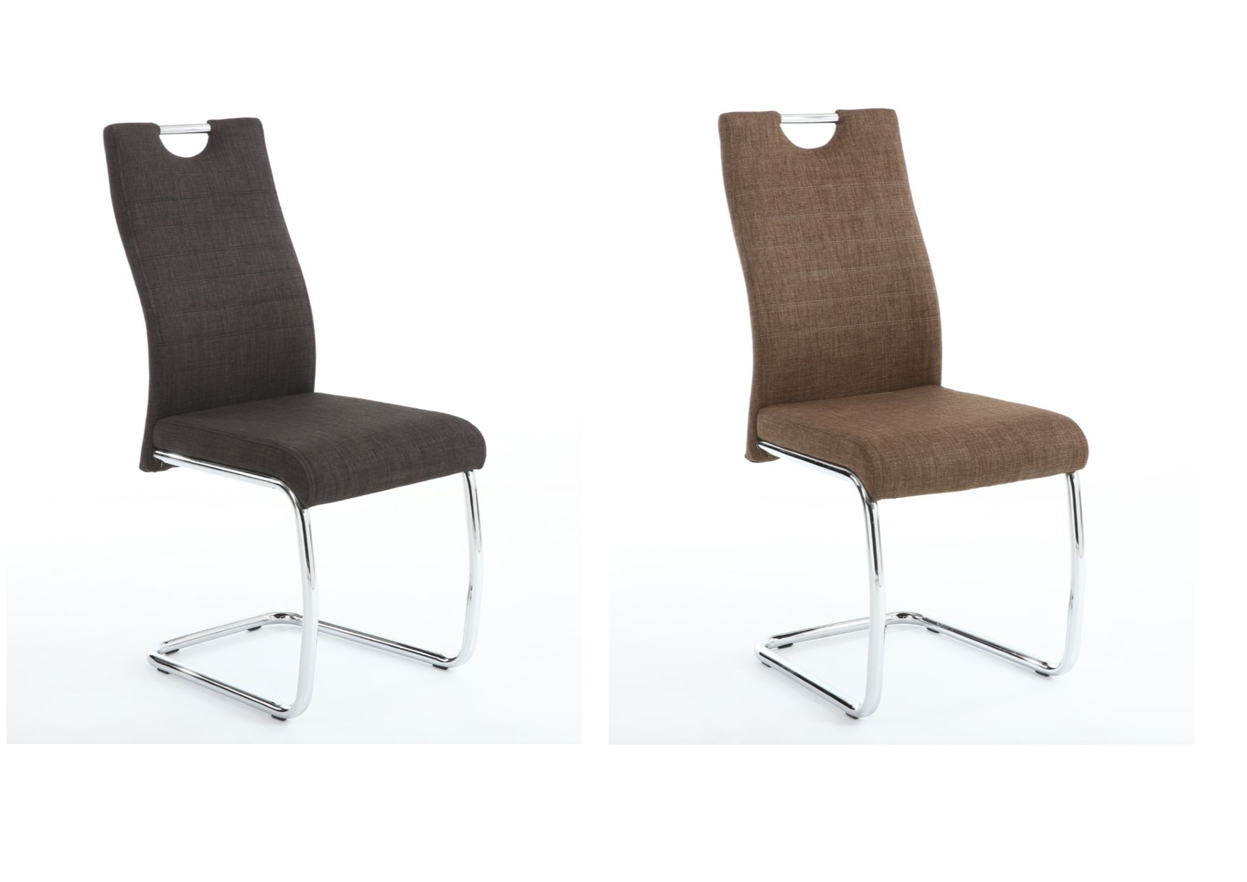 2X Talia Fabric Dining Chairs – Charcoal, Cinnamon & Cantilever In Well Liked Charcoal Dining Chairs (#2 of 20)