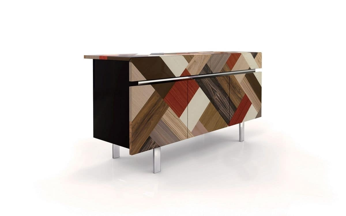 3 Doors Sideboard, 2 Drawers, Covering Handmaded | Idfdesign With Regard To Most Popular Ironwood 4 Door Sideboards (View 2 of 20)