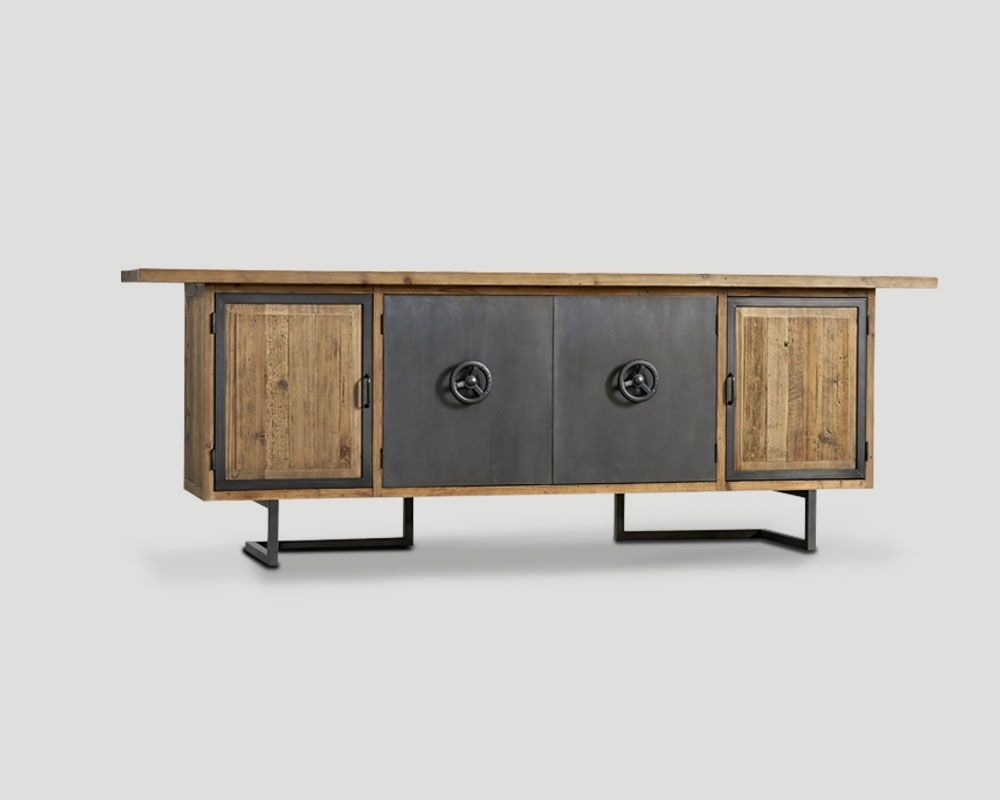 4 Door Sideboard In Recycled Old Wood, Naturale Finish, Metal Pertaining To Most Recently Released 4 Door/4 Drawer Metal Inserts Sideboards (#1 of 20)