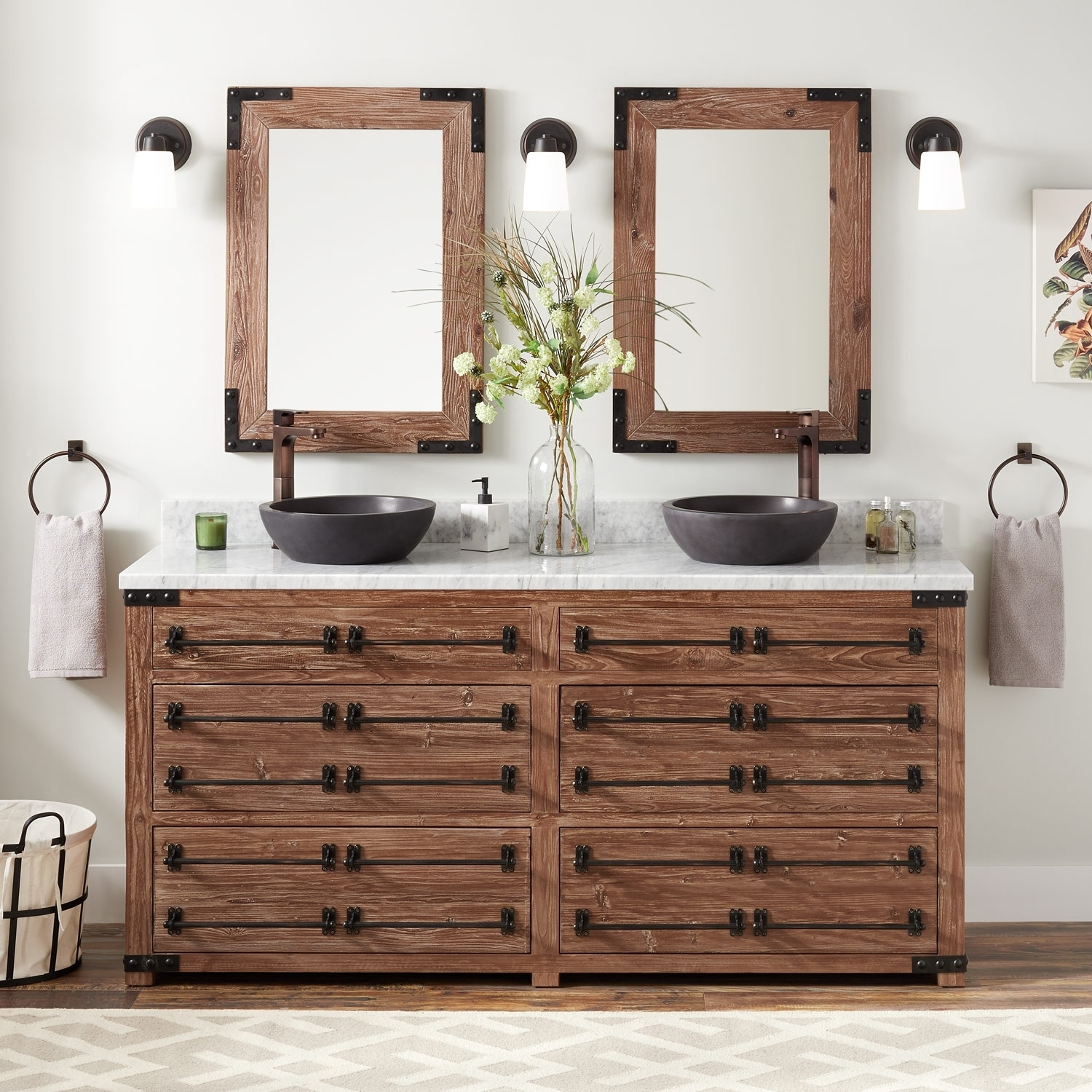 """72"""" Bonner Reclaimed Wood Double Vessel Sink Vanity – Pine – Bathroom Inside Most Up To Date Reclaimed Pine & Iron 72 Inch Sideboards (View 18 of 20)"""