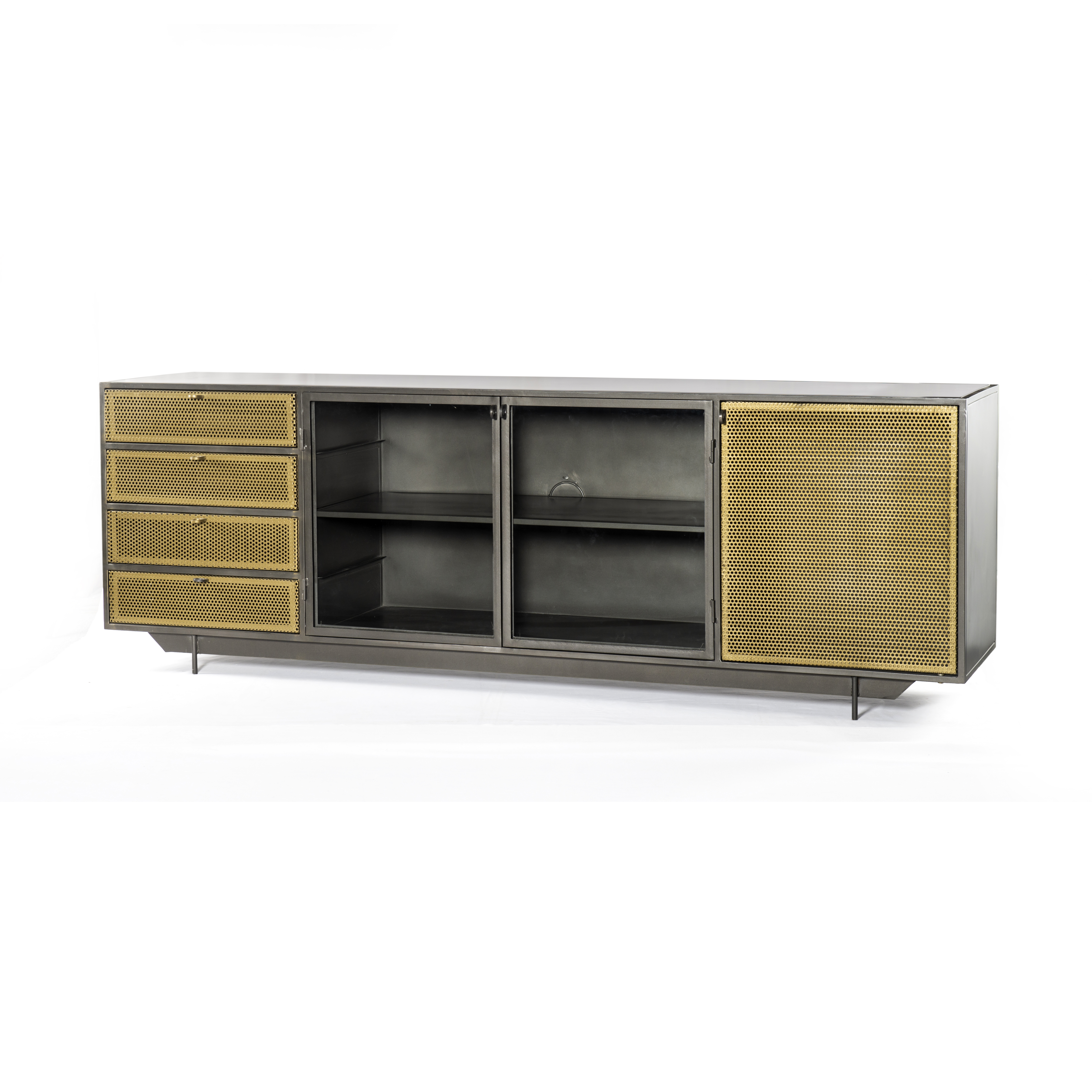 Popular Photo of Gunmetal Perforated Brass Sideboards