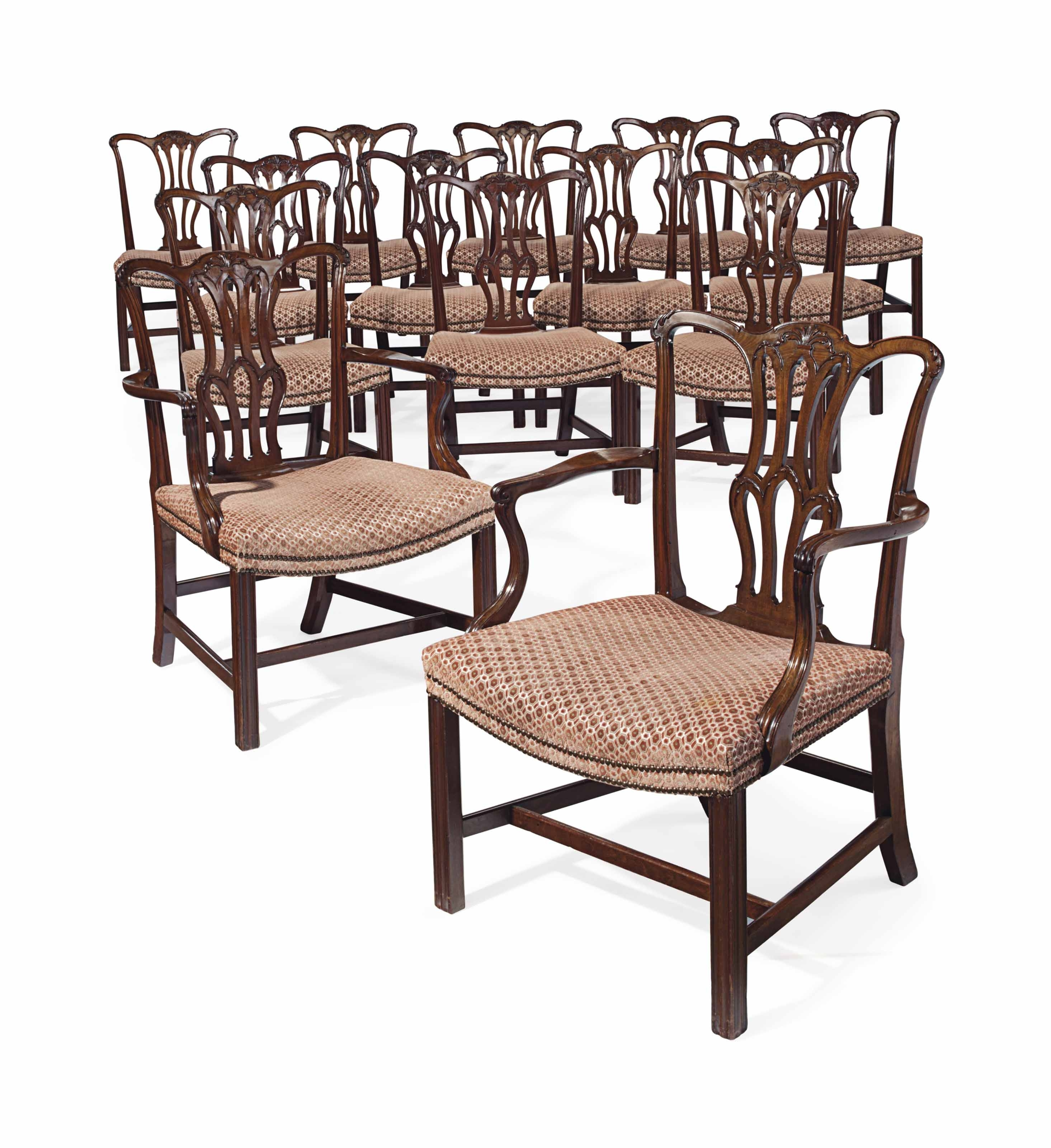 A Set Of Fourteen English Mahogany Dining Chairs (#2 of 20)
