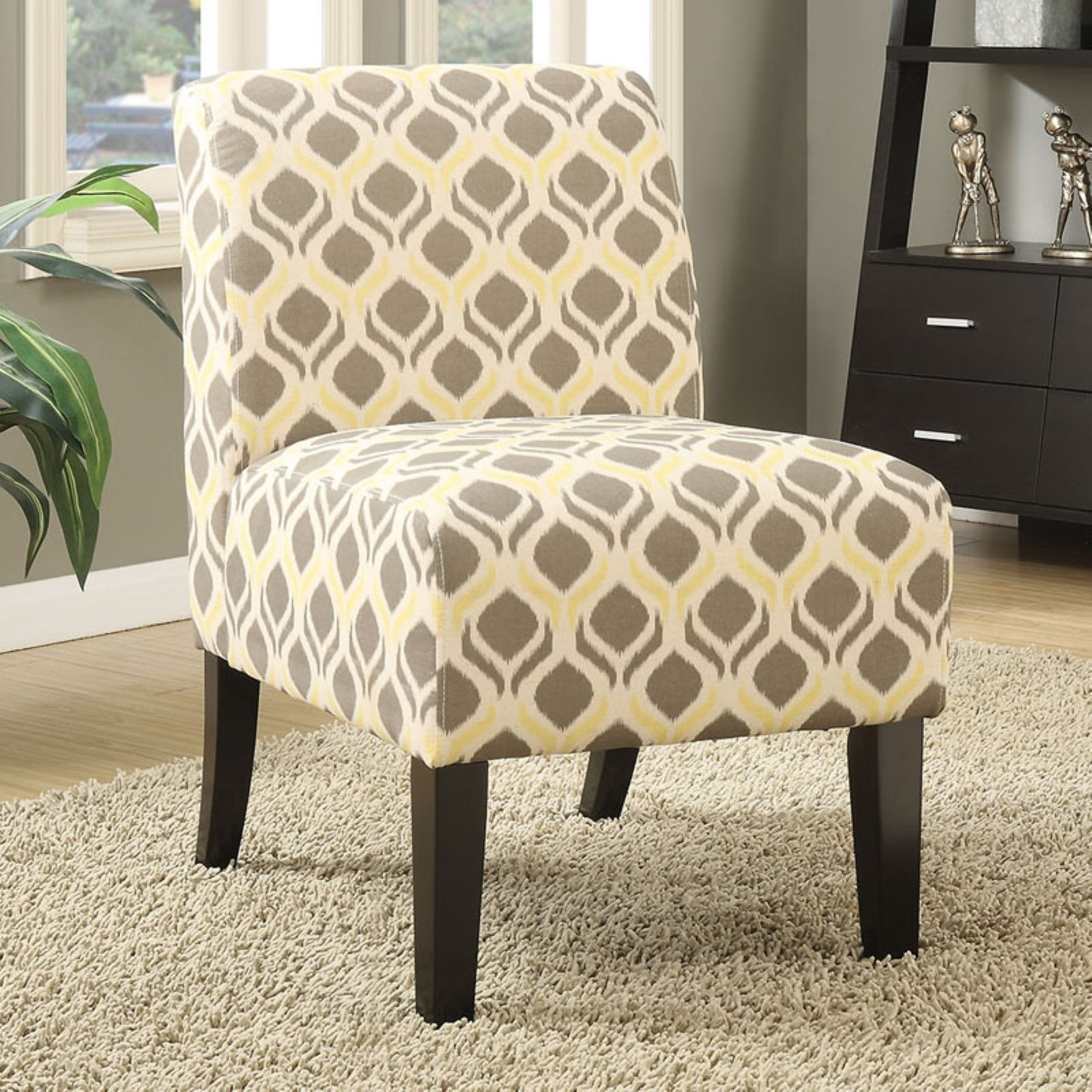 Acme Ollano Fabric Slipper Chair, Multiple Patterns – Walmart With Best And Newest Mindy Slipcovered Side Chairs (#1 of 20)