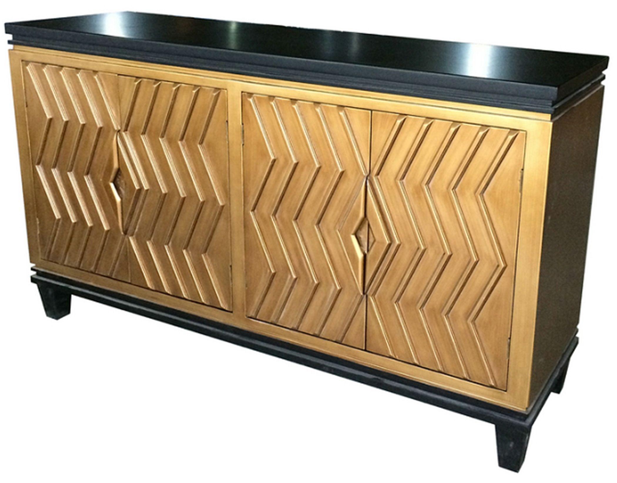 Alessio Art Deco Sideboard 4 Doors, Black/gold Material: Mdf Inside 2017 Brown Chevron 4 Door Sideboards (#2 of 20)