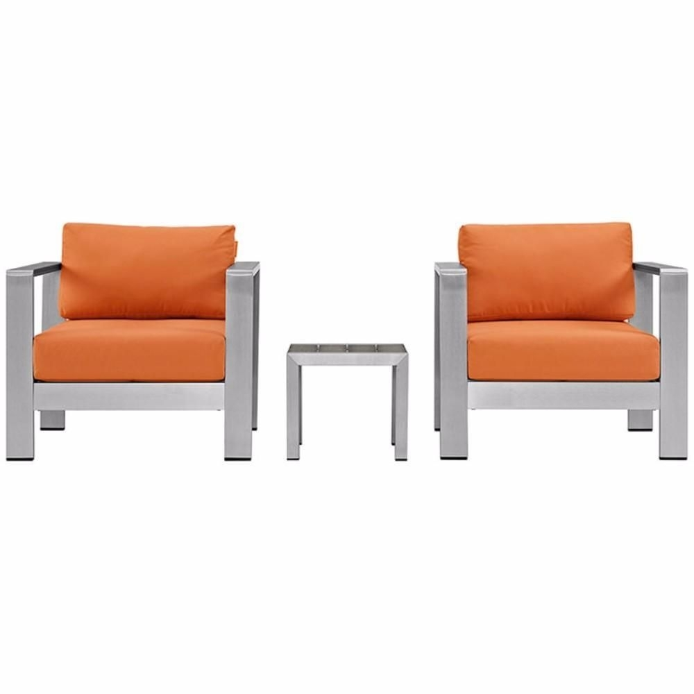 Alexa Firecracker Side Chairs Pertaining To 2018 Shore 3 Piece Outdoor Patio Aluminum Sectional Sofa Set, Silver (View 12 of 20)