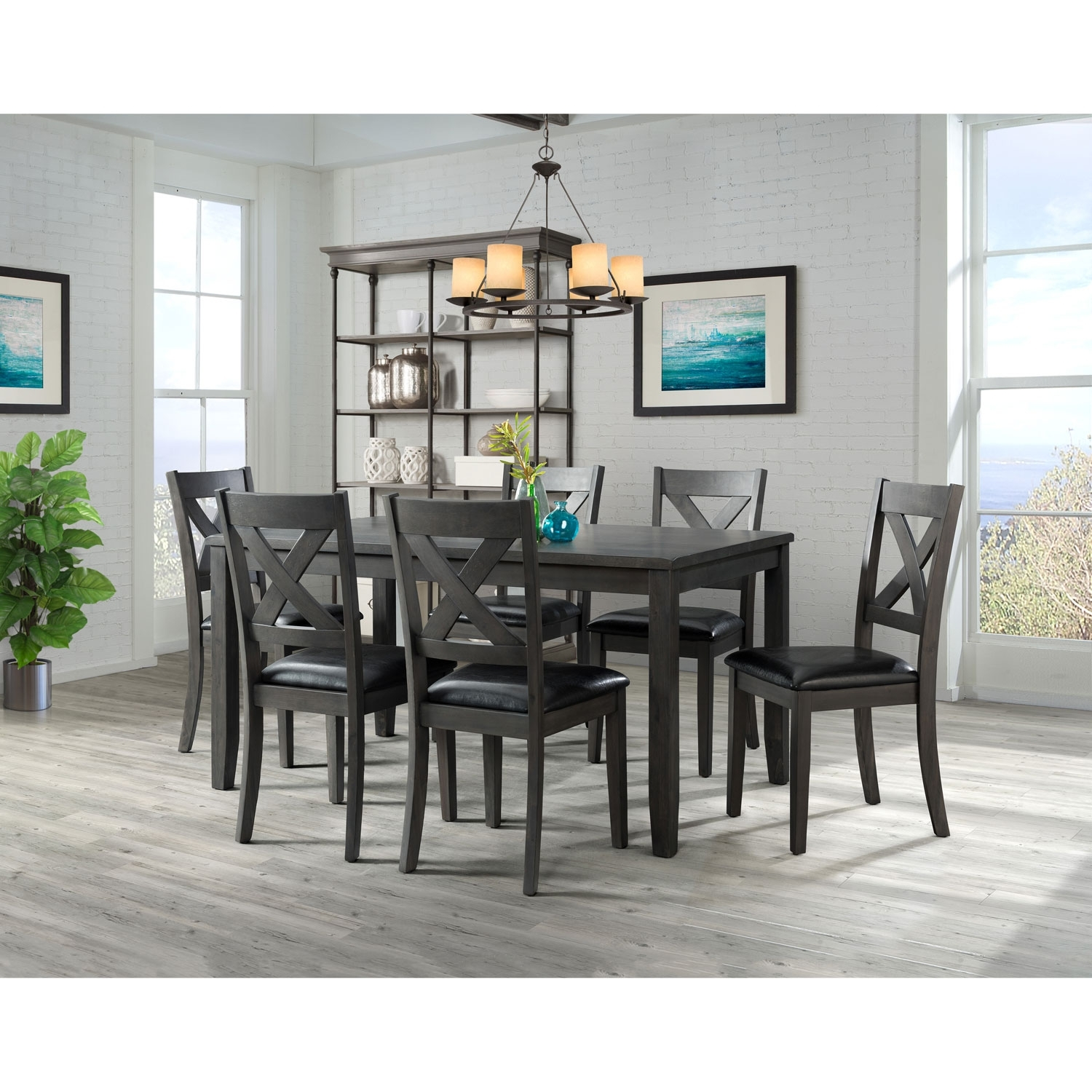 Alexa Transitional 7 Piece Dining Set – Grey : Dining Sets – Best Throughout Most Recent Alexa Grey Side Chairs (#7 of 20)