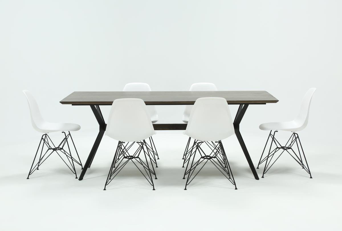 Alexa White Side Chairs For Trendy Weaver Dark 7 Piece Dining Set With Alexa White Side Chairs (#1 of 20)