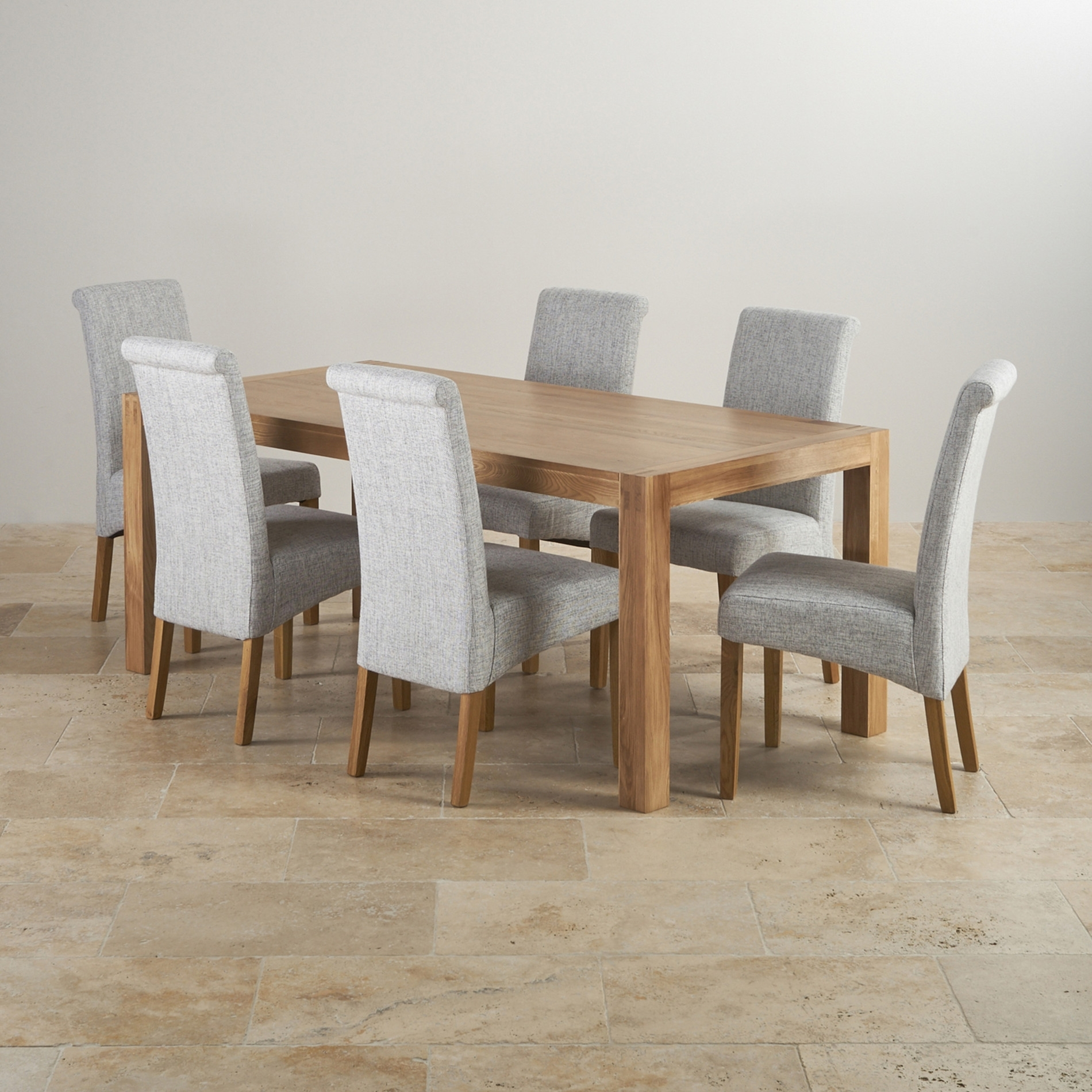Alto Solid Oak 6Ft Dining Table With 6 Grey Fabric Chairs Ghost Regarding Current Laurent Wood Side Chairs (#2 of 20)