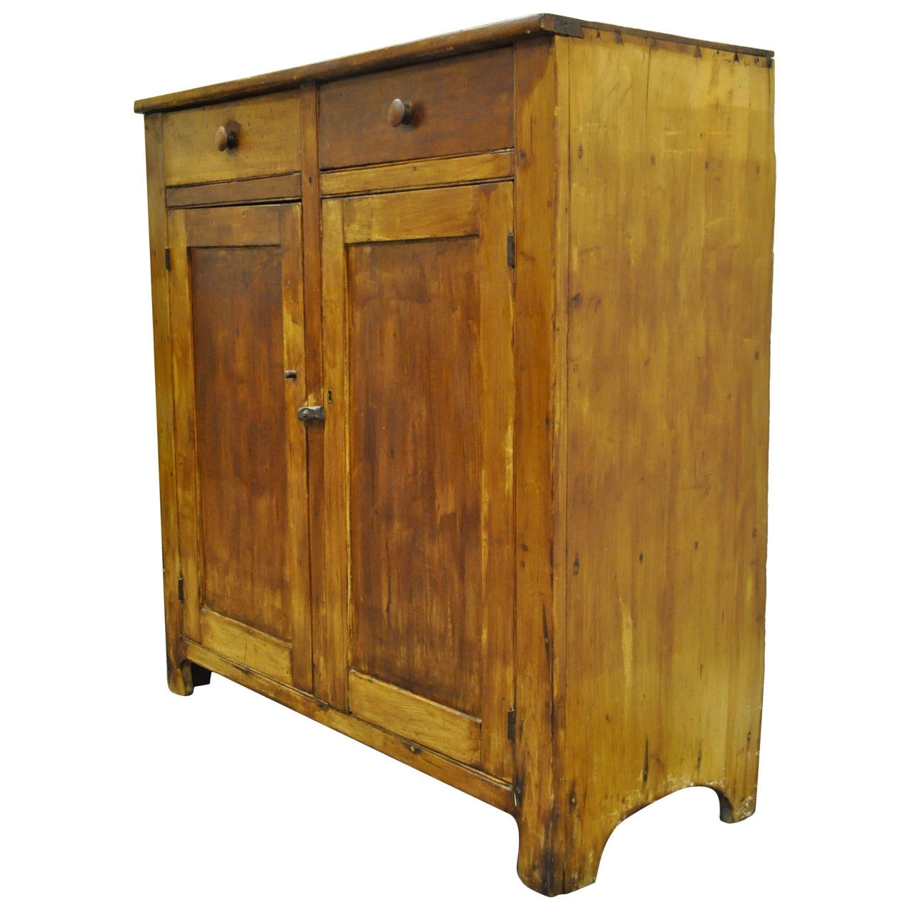American Antique Scrubbed Pine Jelly Cupboard Cabinet, Pennsylvania Within Current Iron Pine Sideboards (#2 of 20)