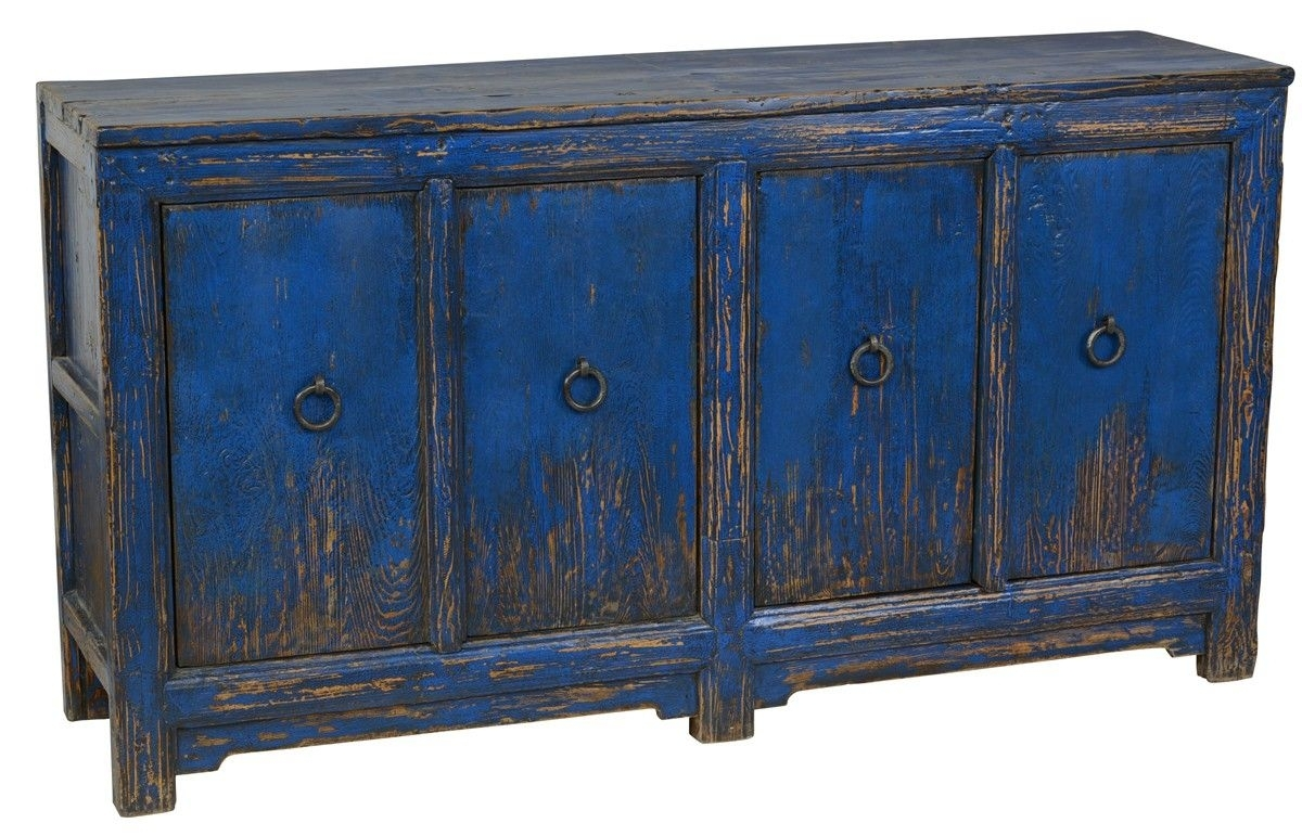Amhers 4dr Buffet Antique Blue – Furniture – Products | Classic Home Pertaining To Newest Rustic Black & Zebra Pine Sideboards (View 15 of 20)