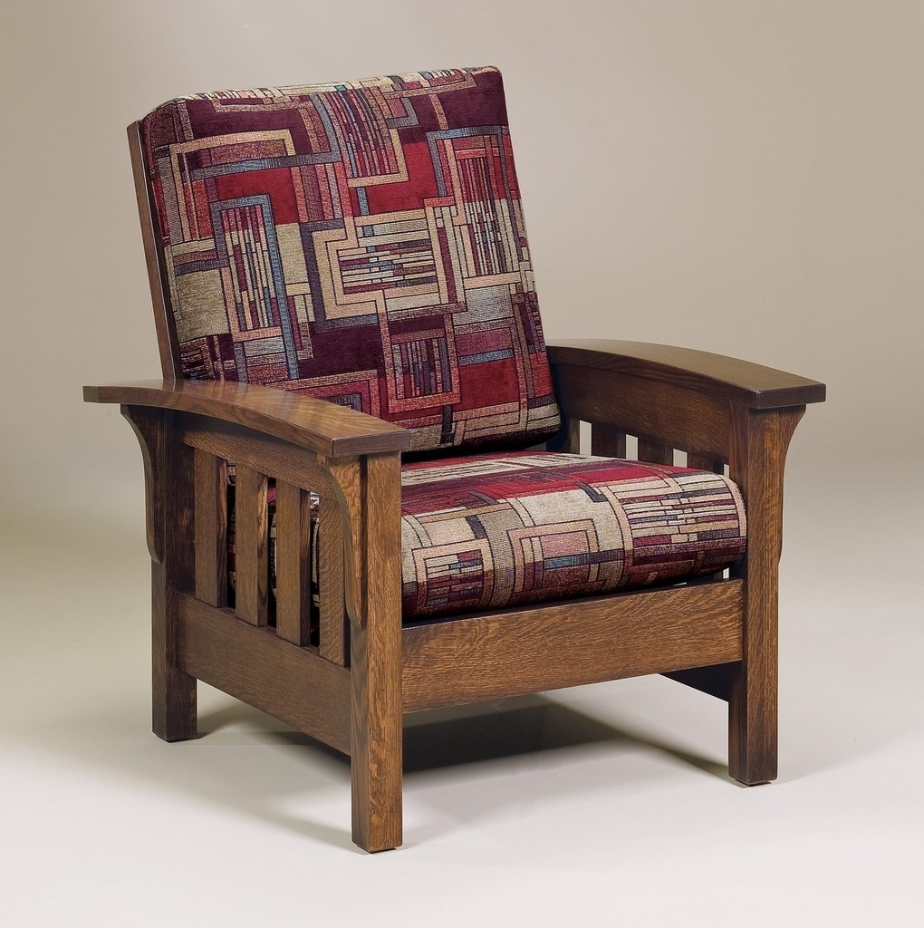 Amish Handcrafted Mission Craftsman Accent Chair Bow Arm Upholstered With Regard To Preferred Craftsman Upholstered Side Chairs (View 1 of 20)