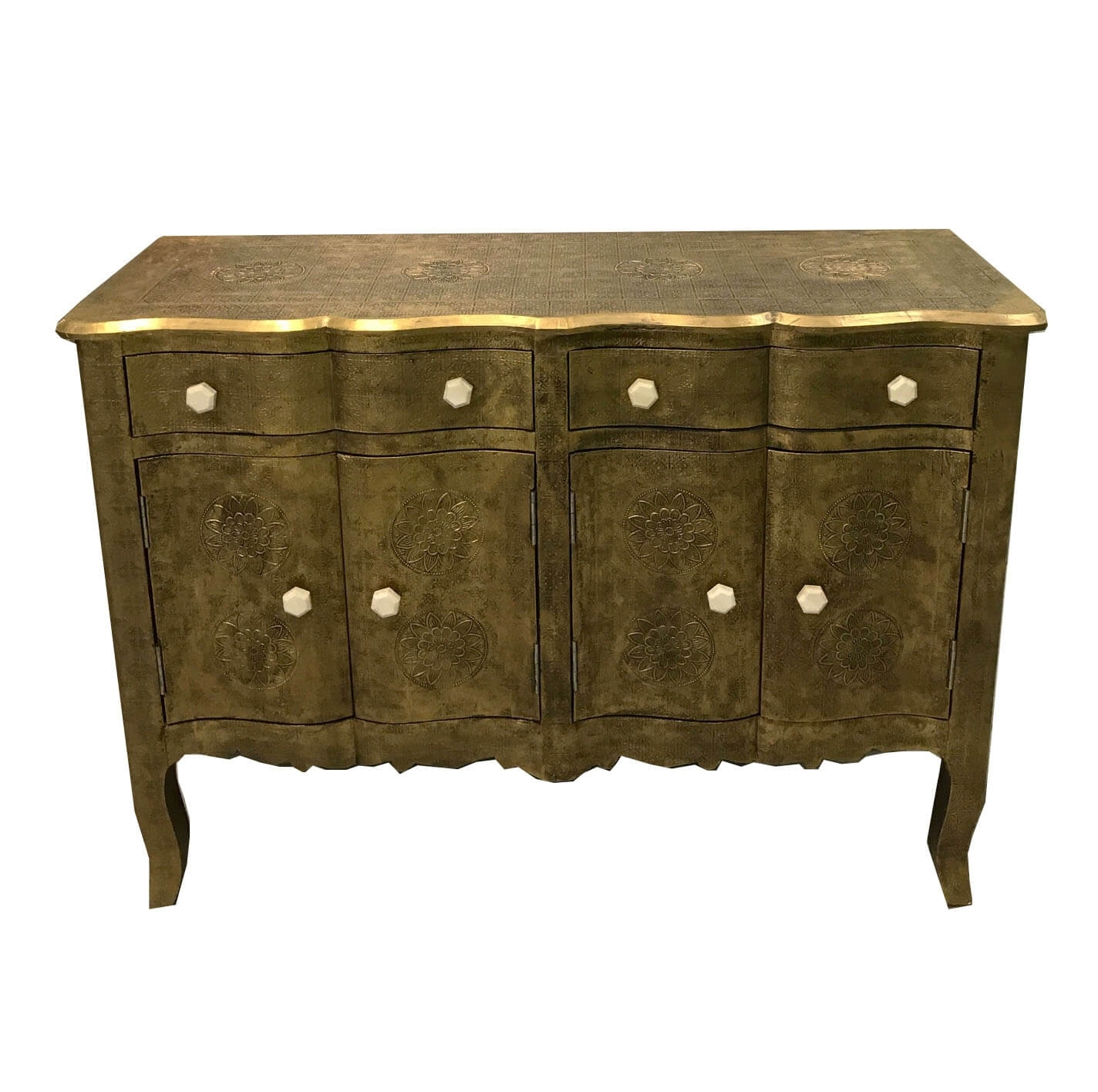 Antique Brass Embossed Wave Fronted Sideboard | Iris Furnishing Throughout Recent Open Shelf Brass 4 Drawer Sideboards (View 12 of 20)