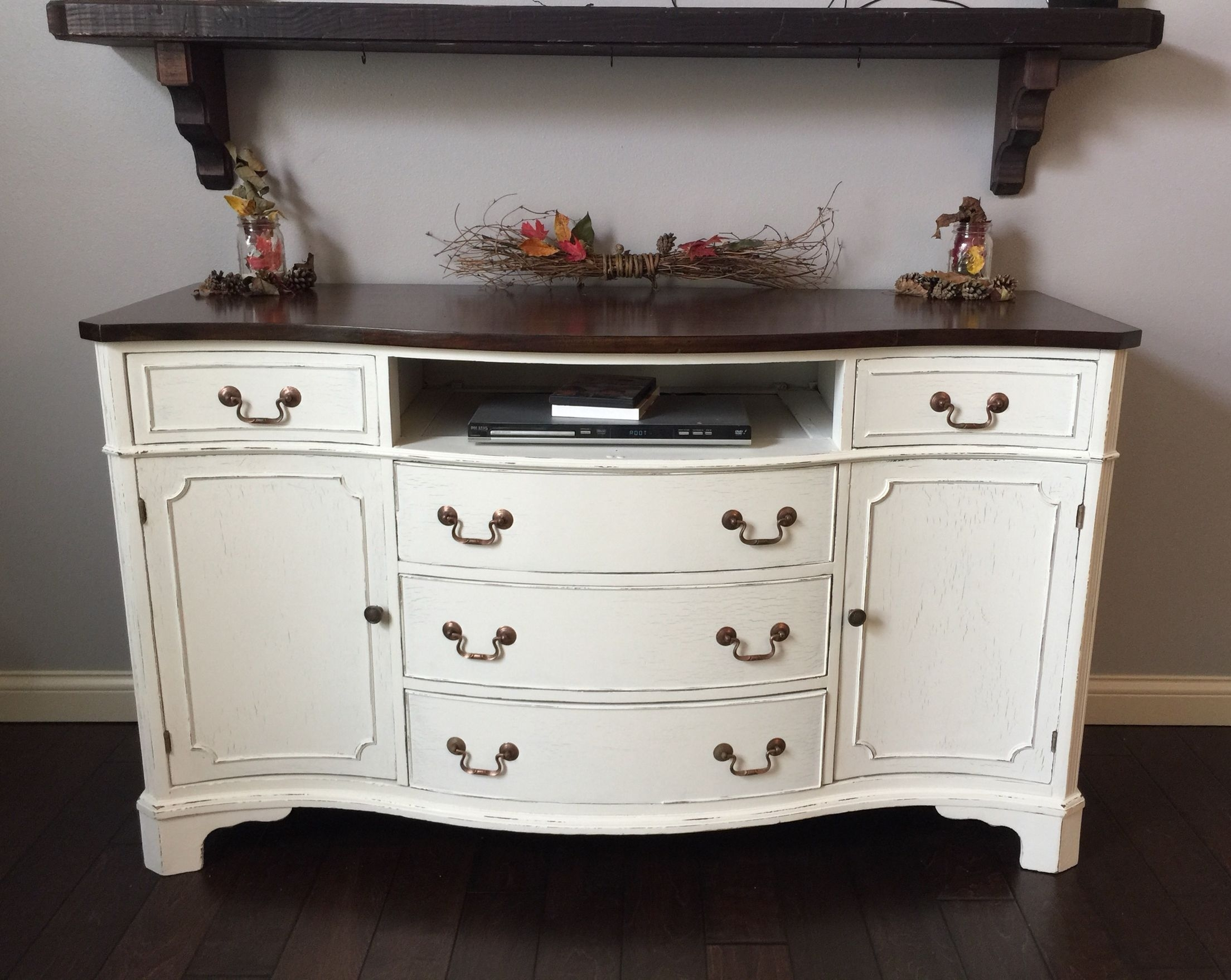 Antique Buffet / Sideboard Lightly Distressed (View 9 of 20)