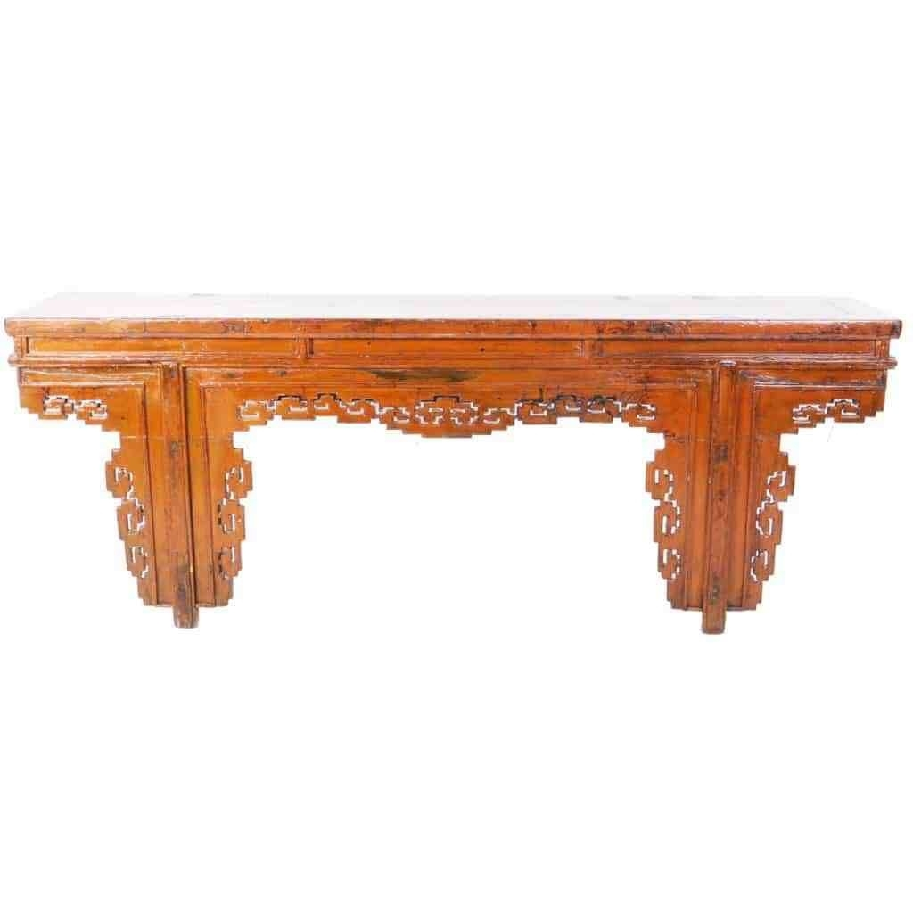 Antique Chinese 91 Inch Long Orange Altar Console Table W Fancy With Most Up To Date Reclaimed Elm 91 Inch Sideboards (View 5 of 20)