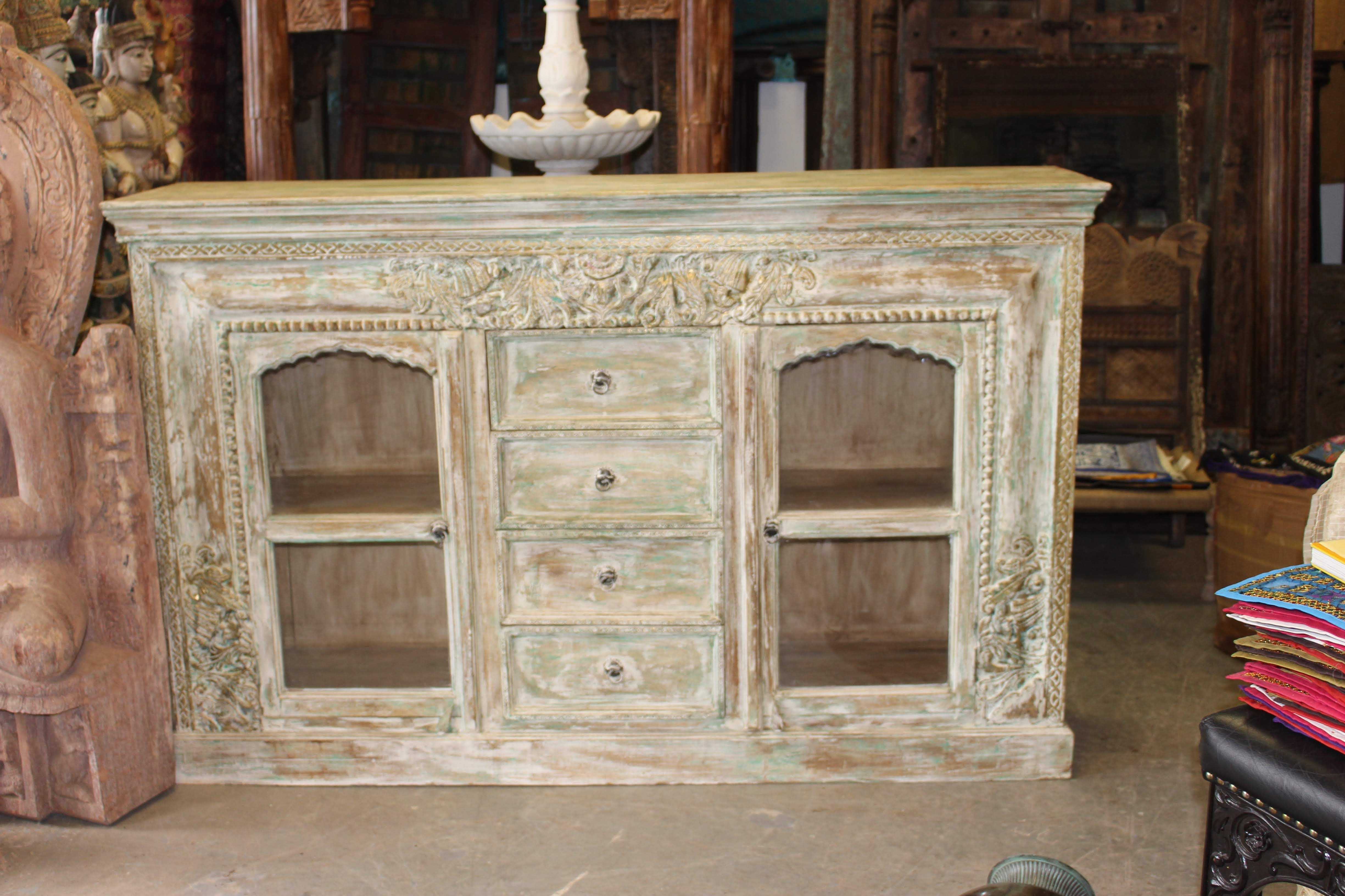 Antique Ivory Carved Brass Inlay Indian Hand Carving Chest 4 Drawer Within Best And Newest White Wash 4 Door Sideboards (View 19 of 20)