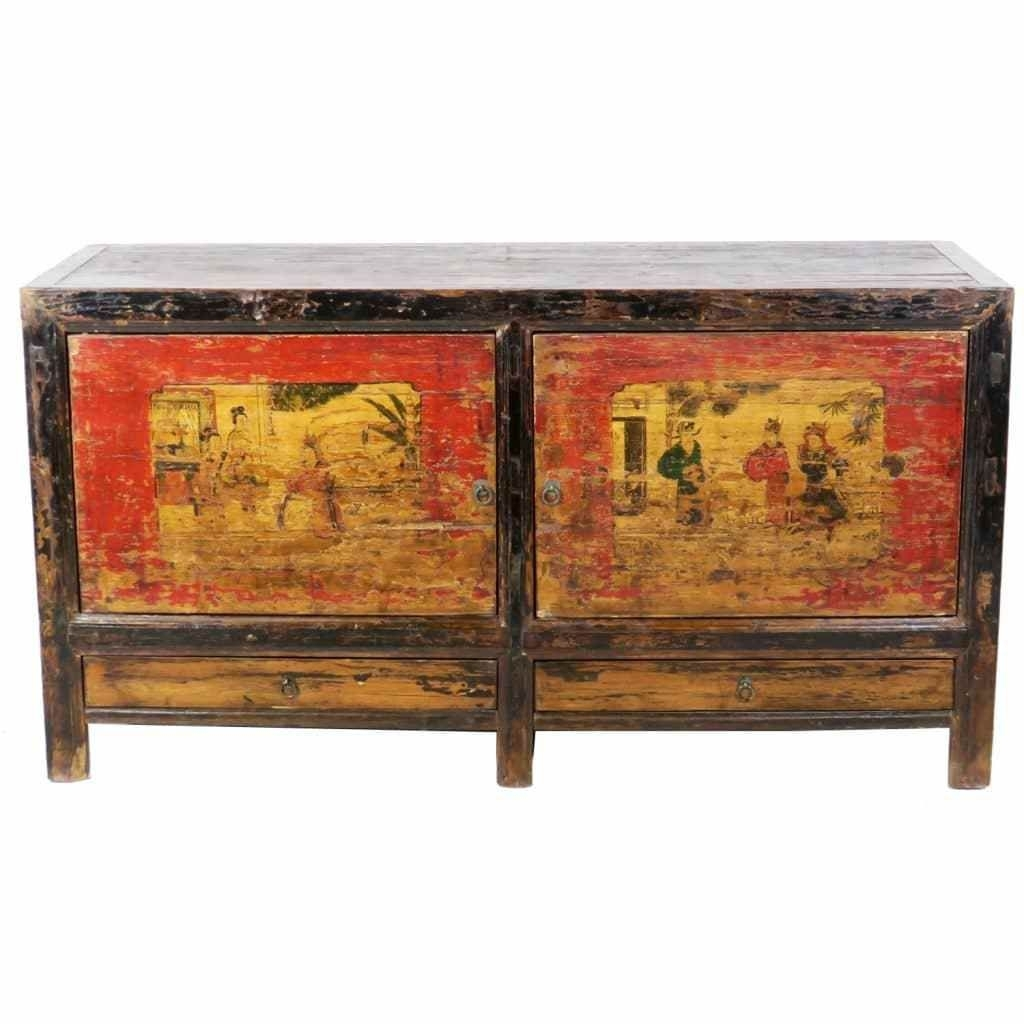 Antique Mongolian Chinese 2 Door Sideboard Cabinet 62 Inch Long X 33 Throughout 2018 Reclaimed Elm 91 Inch Sideboards (View 3 of 20)